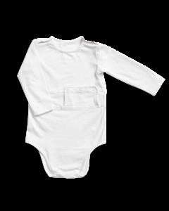 PEG access long-sleeved bodysuit -  White